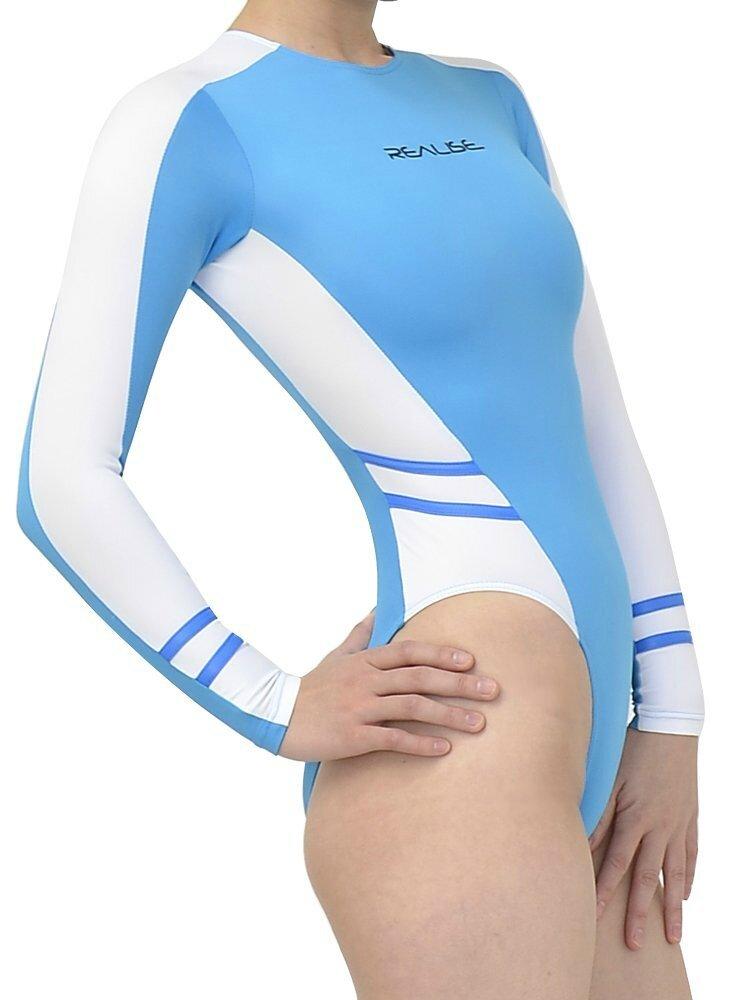 highleg long-sleeved swimsuits n-015 Blue & white profil