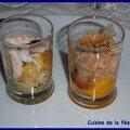 Verrines foie gras et langoustines