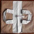 Enduit beige pois blancs coton gris