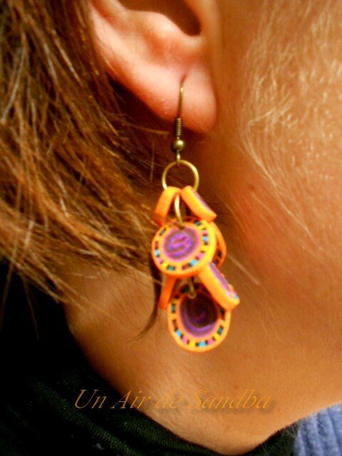 Boucles d'oreilles Pétales orange violet (4)
