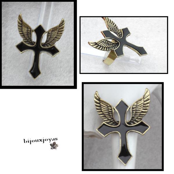 _Bague Croix Ailles D'ange Style Punk Gothique Rock Email Noir Métal Couleur Bronze Ajustable