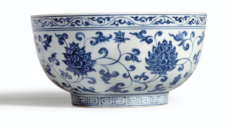A rare large blue and white bowl, mark and period of Xuande (1426-1435)