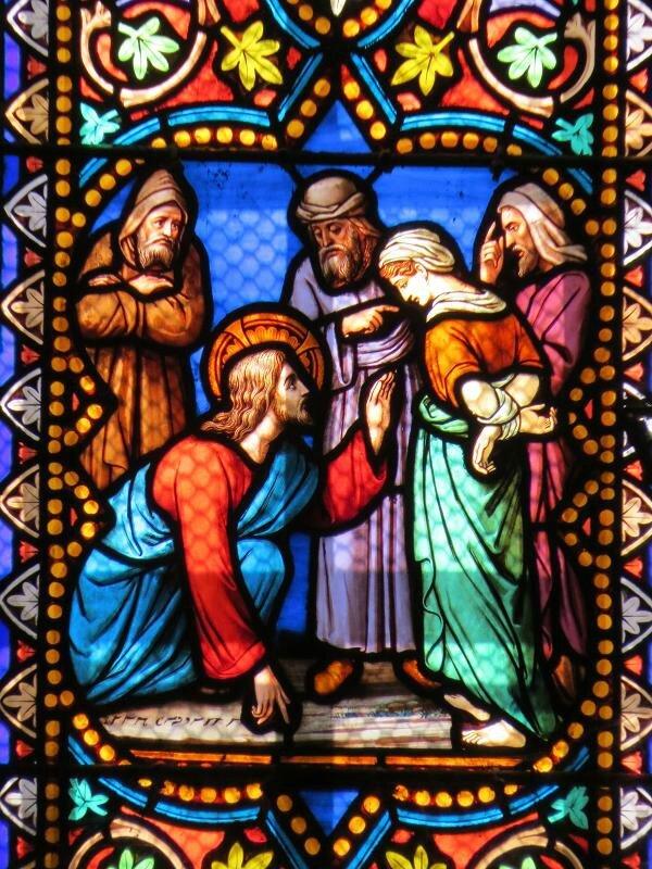 Jésus et femme adultère, cathédrale St-Samson, Dol-de-Bretagne 35