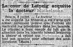 LE MATIN 4 JUILLET 1922 ACQUITTEMENT MICHELSON