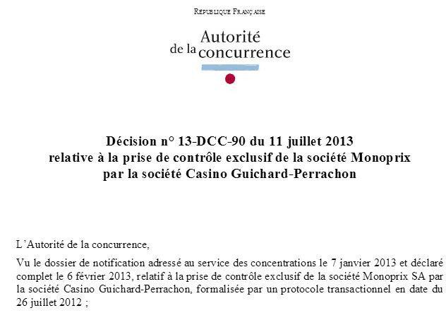 copie écran page 1 décision autorité de la concurrence 11 juillet 2013 Casino Monoprix