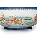 A rare initialed fox hunting punch bowl, qianlong period, circa 1795