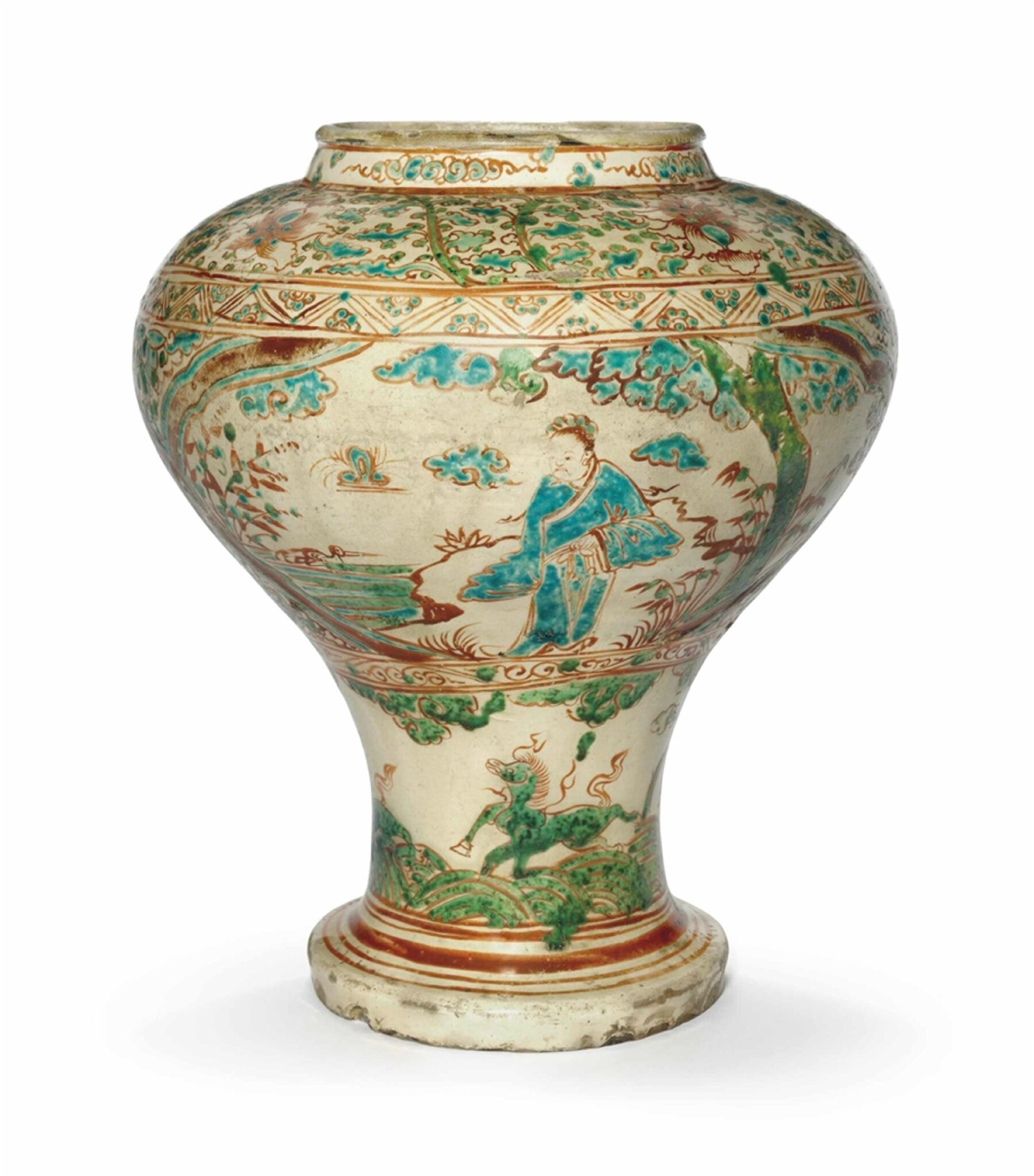 A Cizhou-type polychrome-decorated baluster vase, Ming dynasty, 15th-16th century