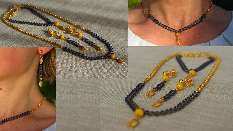 Parure BO bracelet collier Epis d'or-3