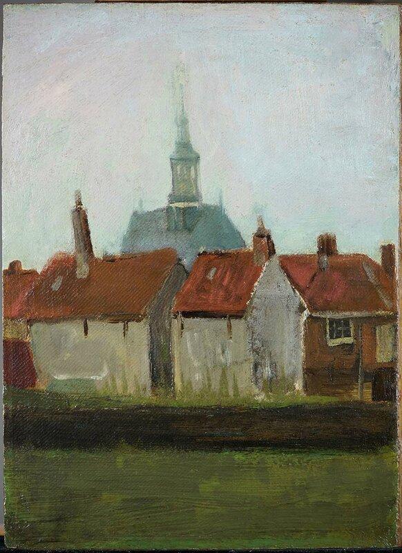 logo -LR Vincent van Gogh, De Nieuwe Kerk en oude huizen in Den Haag, 1883, olieverf op doekpaneel, 35,5 x 26,2 cm, collectie Kunstgalerij Albricht Oosterbeek