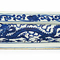 A large blue and white square cushion-form box, Wanli six-character mark in underglaze blue and of the period (1573-1619)