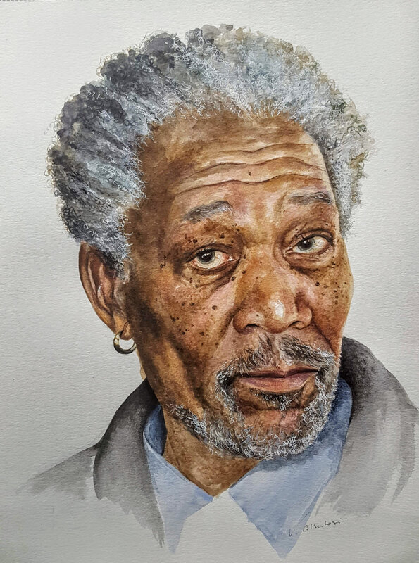 Portrait Morgan Freeman by Valérie Albertosi watercolor aquarelle