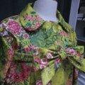 Ciré AGLAE en coton enduit jeune fleuri fermé par un noeud (5)