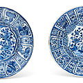 Two blue and white 'kraak' porcelain chargers, ming dynasty, wanli period (1573-1619)