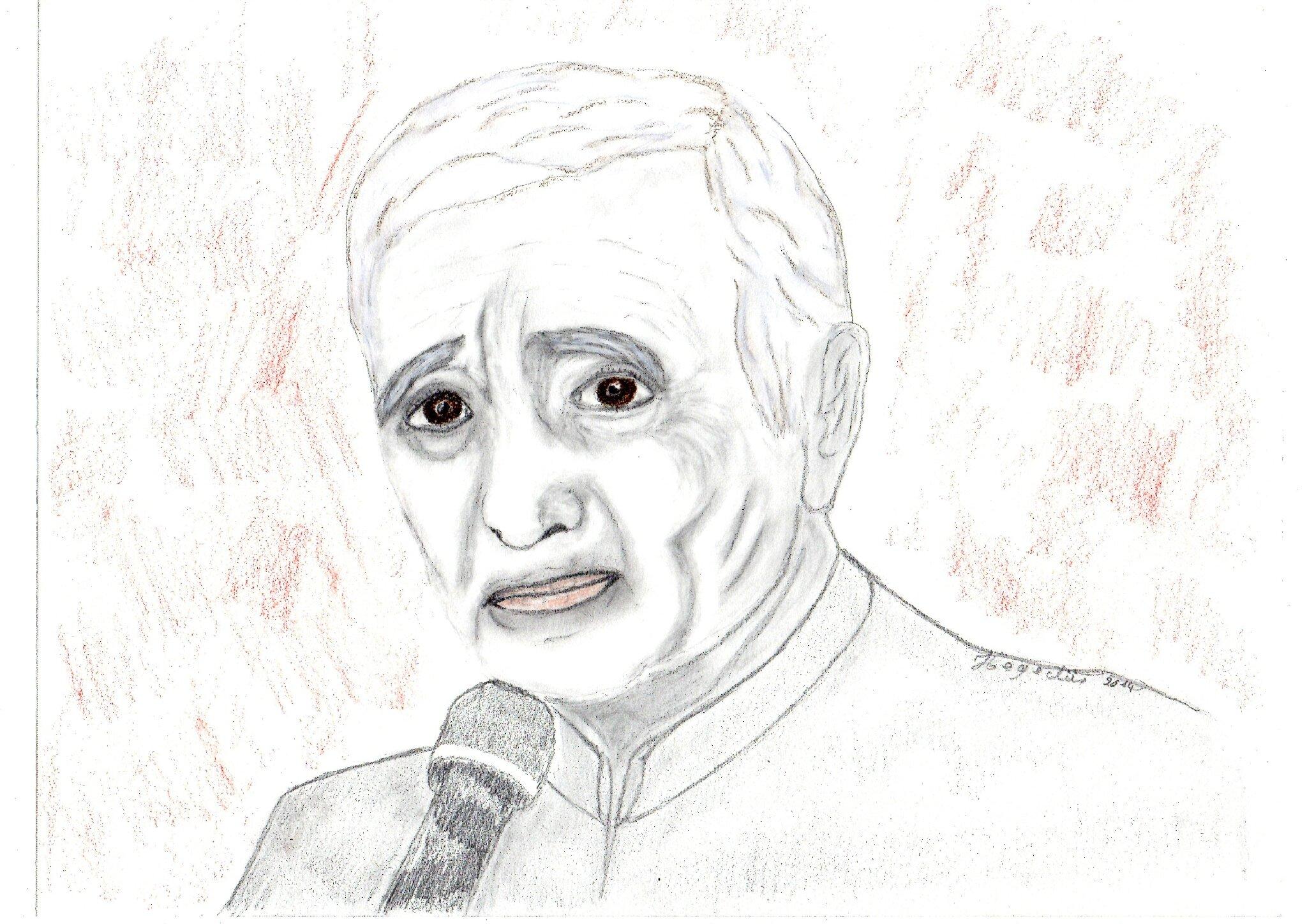 Livraison gratuite dans le monde entier Nouvelles Arrivées meilleur pas cher Dessin portrait de star: Charles Aznavour - Croquis XL