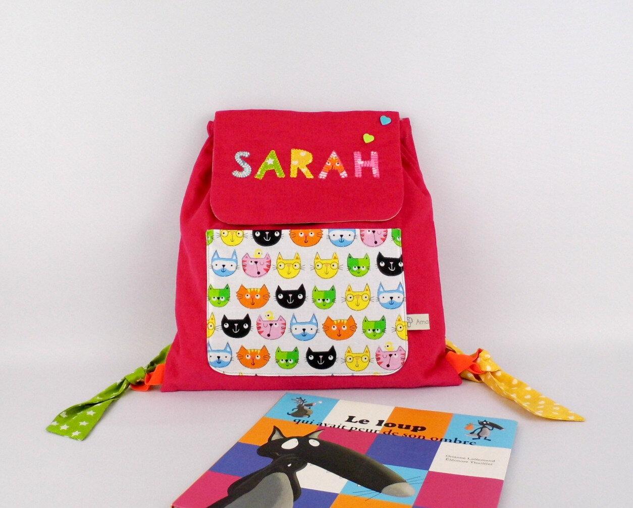 Sac à dos fille personnalisé prénom fille cartable maternelle imprimé chat Sarah