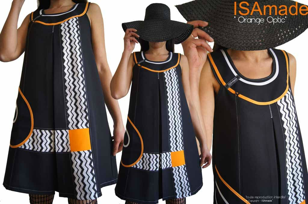 MOD 393A robe Printemps 2016 Trapèze bicolore noire Orange blanc motif geometrique