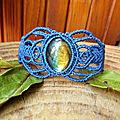 Bracelet macramé bleu pierre labradorite