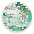 A famille-verte 'figural' dish qing dynasty, kangxi period (1662-1722)