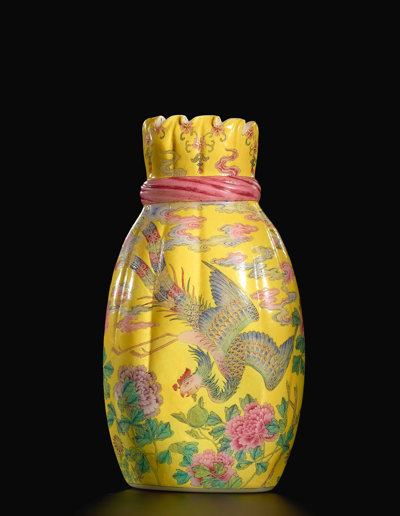 A Highly Important And Superbly Painted Beijing Enamel Falancai Pouch Shaped Glass Vase Blue Enamel Mark And Period Of Qianlong Alain R Truong