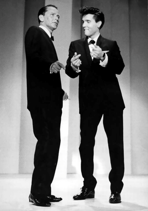 Frank Sinatra and Elvis Presley onstage at the Fontainebleau Hotel on March 26, 1960