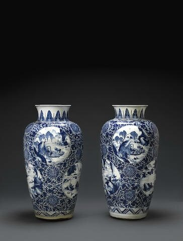 Two massive blue and white ovoid jars, Kangxi period