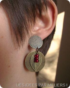 Boucle d'oreilles Ronde avec feuille et perles - Laiton