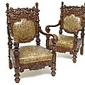 Five richly carved and leather covered armchairs, europe-china, 19th ct