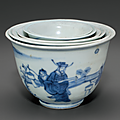 A set of six blue and white nesting cups, chongzhen period, circa 1643