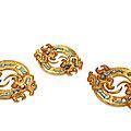Three gold 'dragon' discs, warring states period, 475-221 b.c.