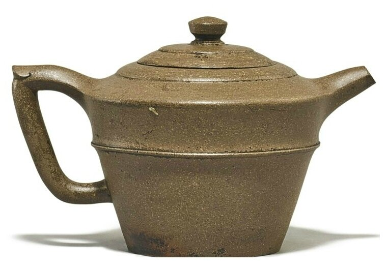 A Yixing bucket-form teapot and cover, Ming dynasty, Wanli period, signed Chen Xinqing