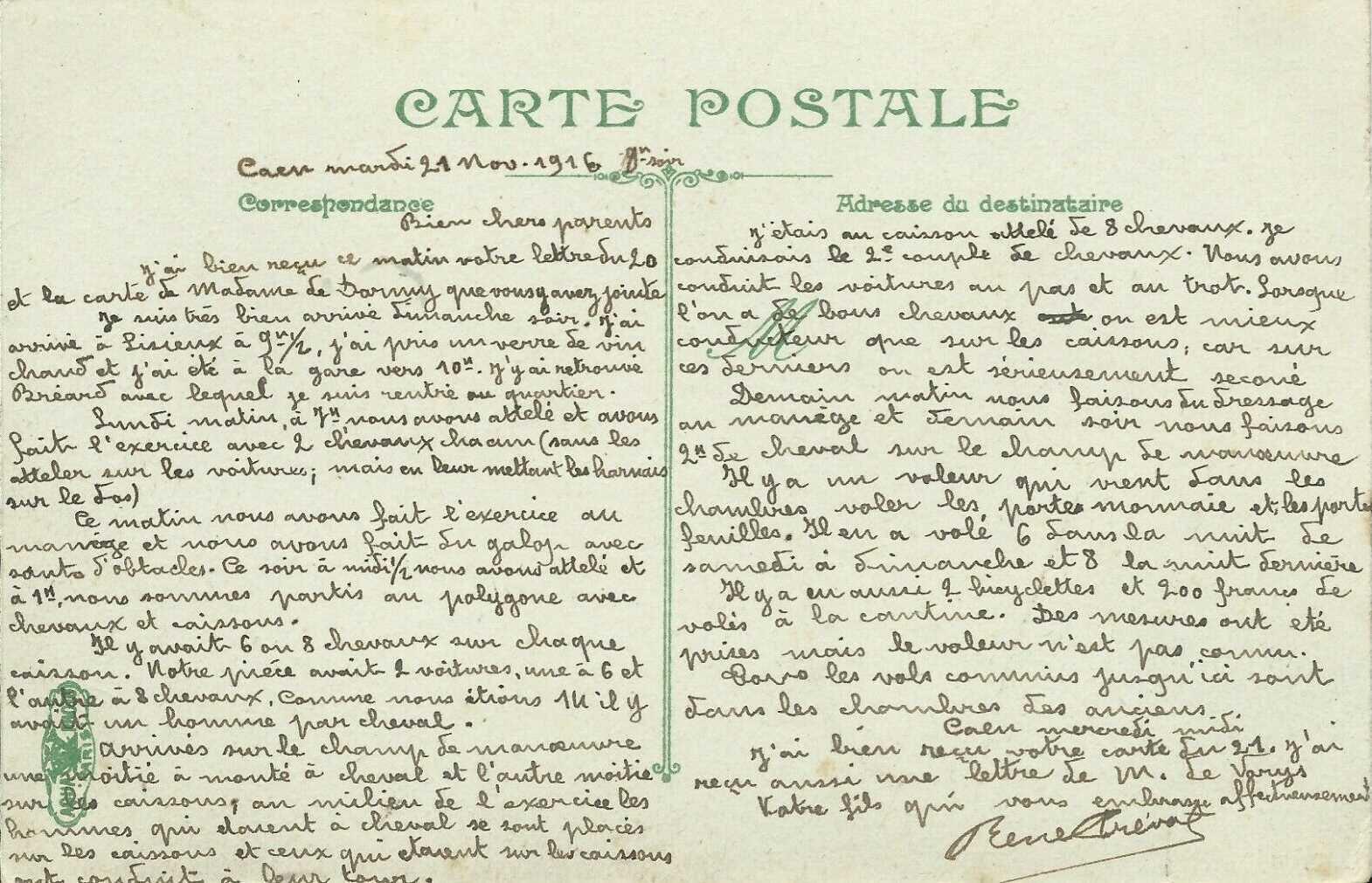 05 Caen, Quartier Claude Decaen, René Auguste Désiré PREVOST, 43e RAC, correspondance novembre 1916