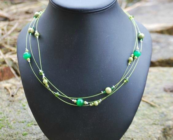 collier 3 fils vert proposition pour Berengère