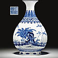 A ming-style blue and white pear-shaped vase, yuhuchunping. qianlong seal mark in underglaze blue and of the period (1736-1795)