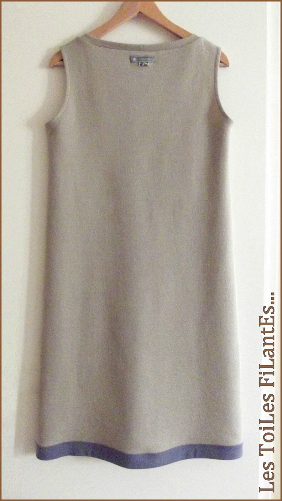 Robe jersey de laine taupe beige5