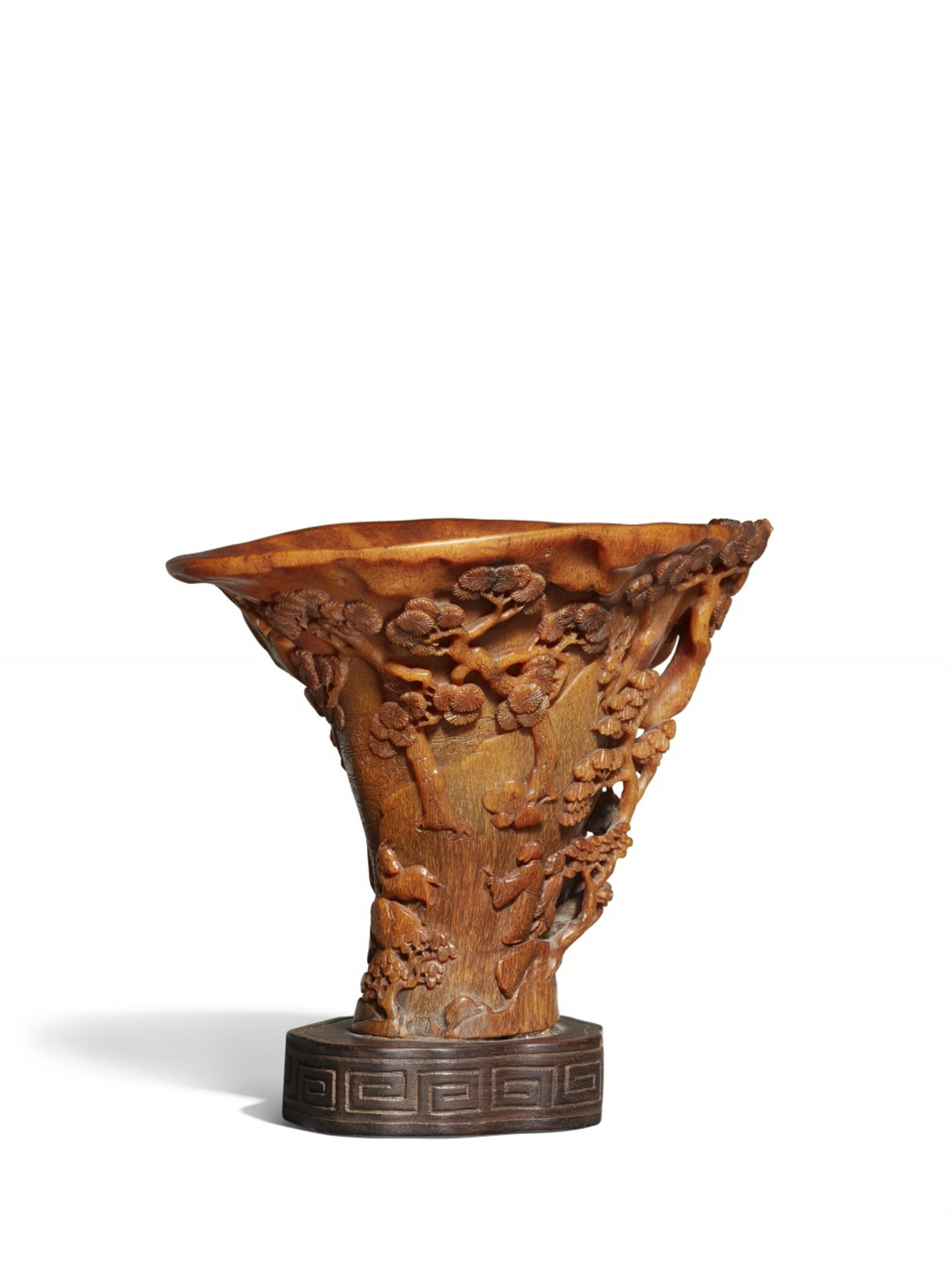 An elegant and tall rhinoceros horn libation cup
