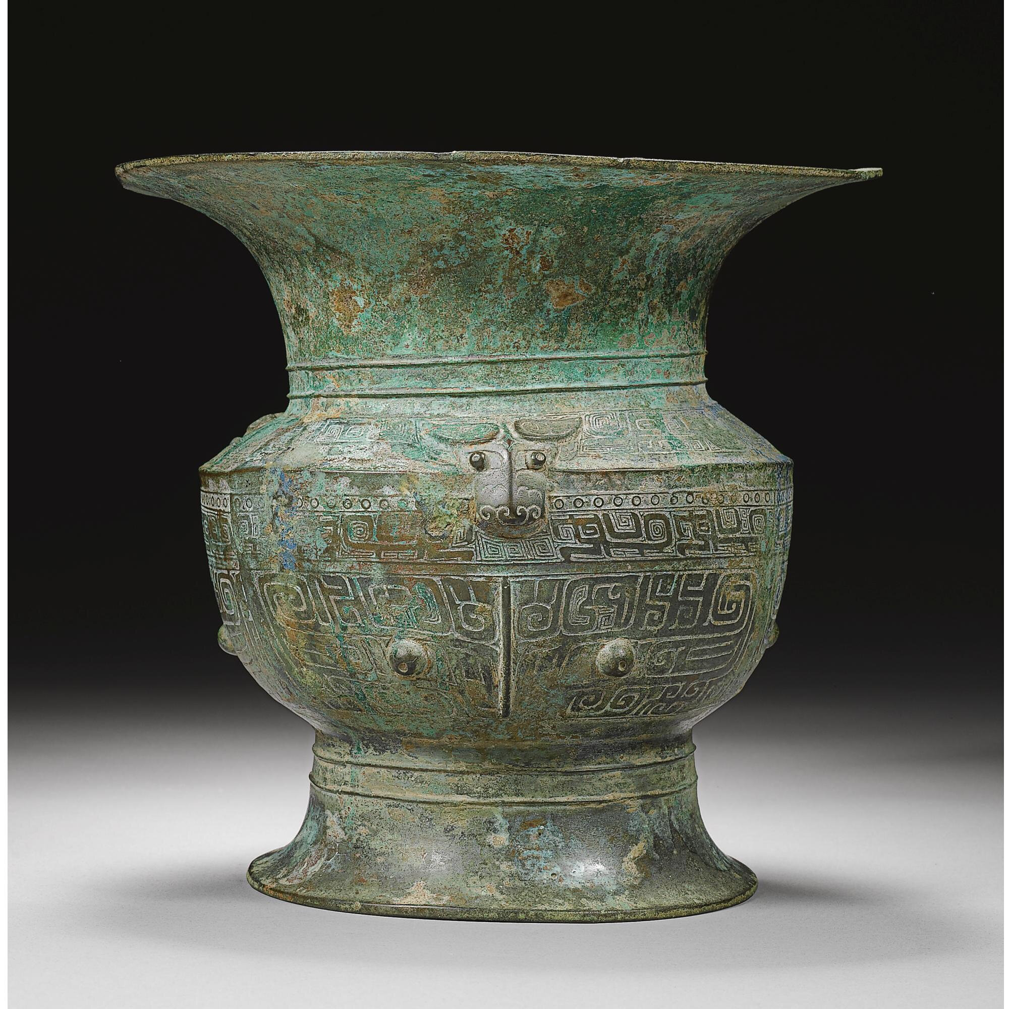 An archaic bronze ritual wine vessel (zun), Late Shang dynasty, 12th-11th century BC