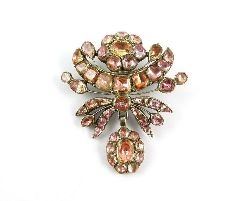 cc3f20d3d0 18th century Portuguese topaz cluster drop brooch, close set in silver,  c.1760, 47mm long. Weight: 13g. Asking price £9,000. Courtesy S. J.  Phillips Ltd
