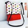 Sac besace printemps été rabat zip original coton orange épais motifs pop à pois multicolors acidulés