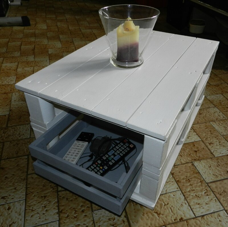 Table basse en palette bois le blog note de stef - Fabrication de table basse ...
