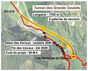 dérivation tunnel route des Grands Goulets (vercors)