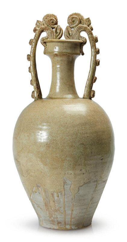 A large Chinese straw-glazed dragon-handled amphora, Tang dynasty (618-907)