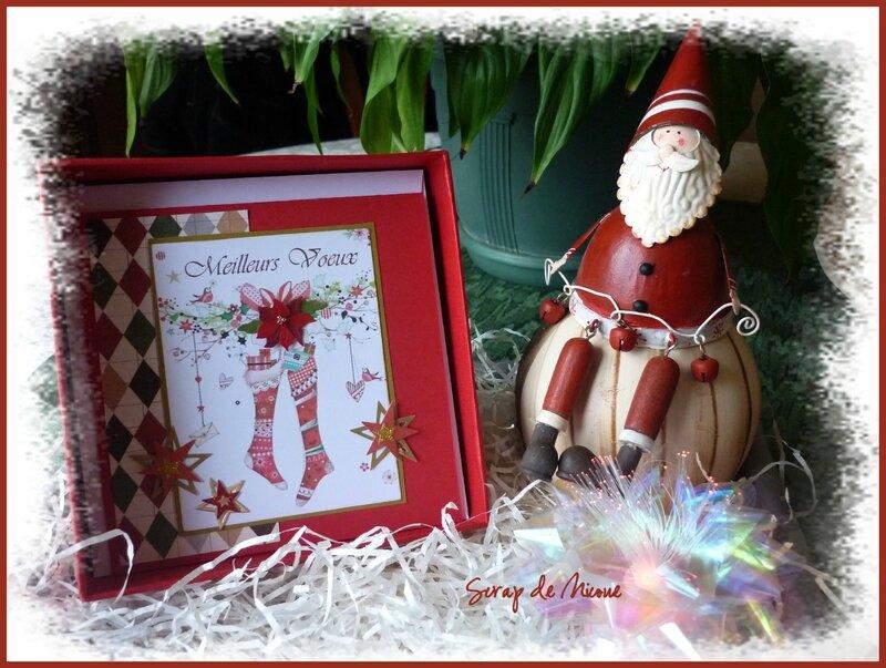 Carte Meilleurs voeux Chaussettes Coffret Joyeuses Fêtes