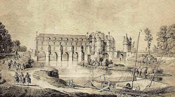 Le Cher qui passe sous le château de Chenonceau-vieille gravure du XVIIIeme siècle.