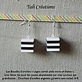Boucles d'oreilles Legos carrés plats noirs et blancs P