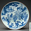 A large blue and white 'immortals' dish, shunzhi period, circa 1650