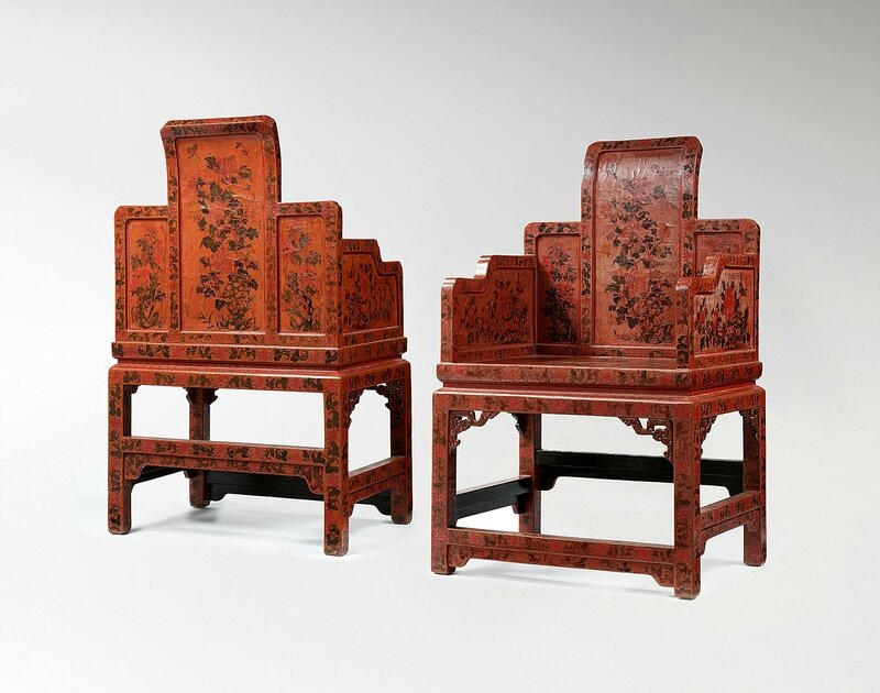 Set of four armchairs (detail, two of four), Qing dynasty, 1644-1911, early 18th century