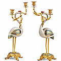 A fine pair of cloisonné enamel cranes, mid-qing dynasty, with french barbedienne-style gilt-bronze mounts