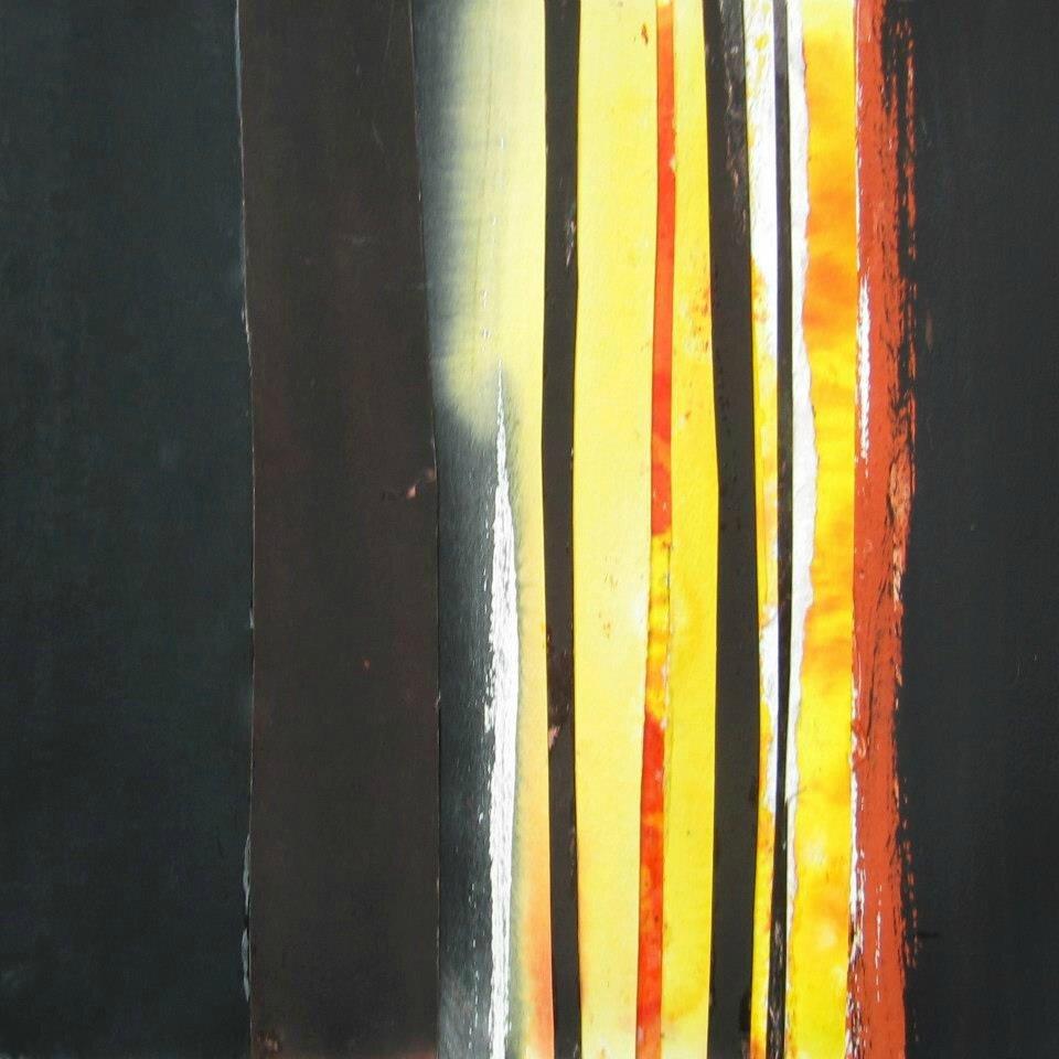 Forêt #18, 2011, acrylique, collage et coulures sur papier, 45 x 32 cm