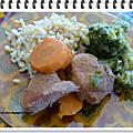 Sauté de porc au blé, brocoli et carottes ww