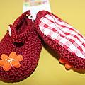 chaussons fille bordeaux fleurs orange